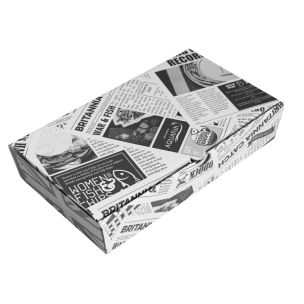"10"" Newspaper Print Cardboard Fish & Chips Boxes (290x50x160mm) 1x100"