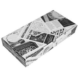 "12"" Newspaper Print Cardboard Fish & Chips Boxes (325x50x160mm) 1x100"