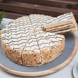 Caffe Latte Cake Decorated with Hazelnuts (12 Pre-Portions) 1x1.68Kg