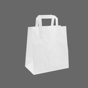 Small White Paper Carrier Bags with Flat Handles (190x100x300mm) 1x100