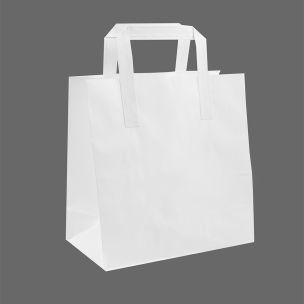 Medium White Paper Carrier Bags with Flat Handles (230x100x320mm) 1x100