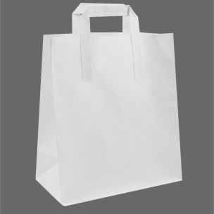 Large White Paper Carrier Bags with Flat Handles (300x250x390mm) 1x100