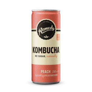 Remedy Kombucha Peach Cans 12x250ml