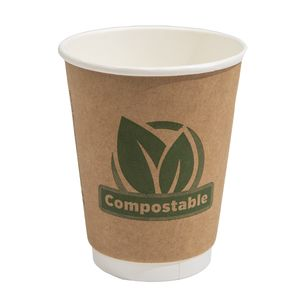 Aqueous 12oz Double Wall Compostable Paper Hot Cup (Lid Ref CUP206) - 1x500