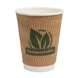 Aqueous 12oz Ripple Wall Compostable Paper Hot Cup (Lid Ref CUP206) - 1x500