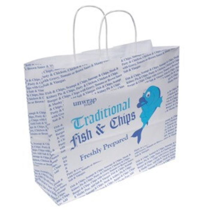 4Flame Fish & Chips Box Carrier Bags (Twisted Paper Handles B&W Print-1x125