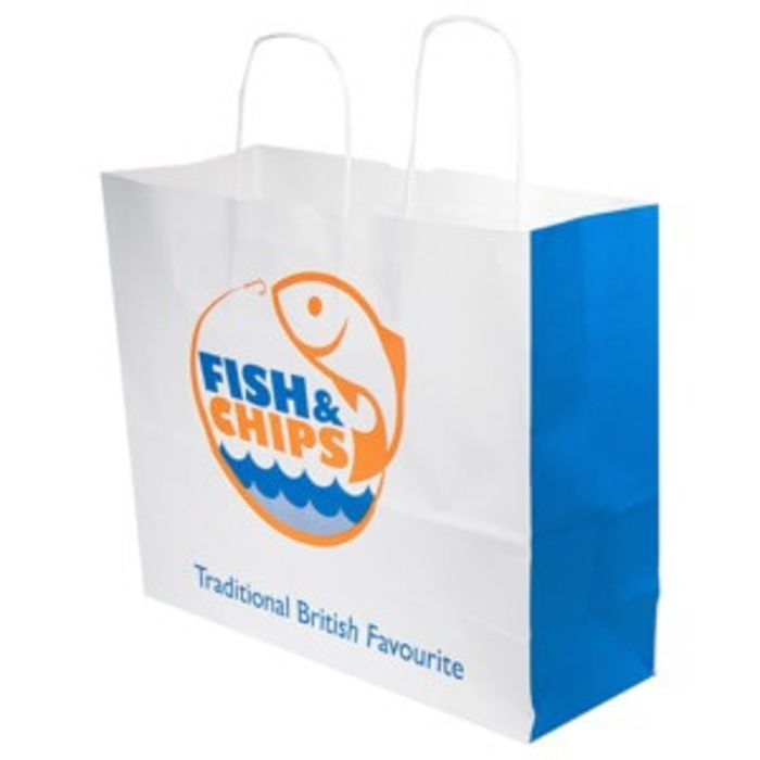 """Fish & Chips Jumbo Paper Carrier Bags (Twisted Paper Handles)(13""""x9""""x13"""")-1x100"""