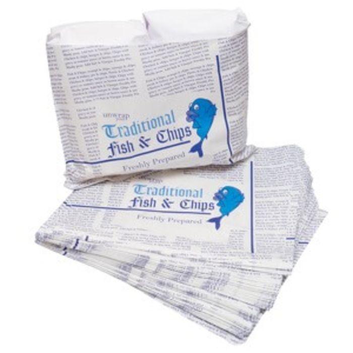 "4Flame Kraft Fish & Chips B&W Take Away Bags-(14""x11"")-1x500"