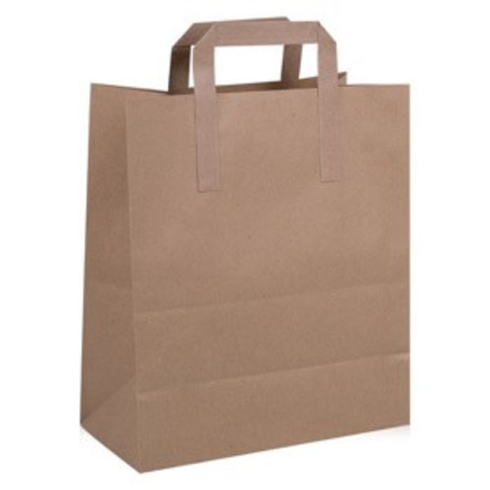 Large Brown Paper Carrier Bags (250x140x300mm)-1x250