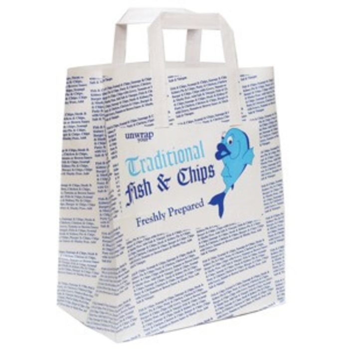 """4Flame Large Fish & Chips B&W Paper Carrier Bags (12""""x5.5""""x10"""")-1x125"""