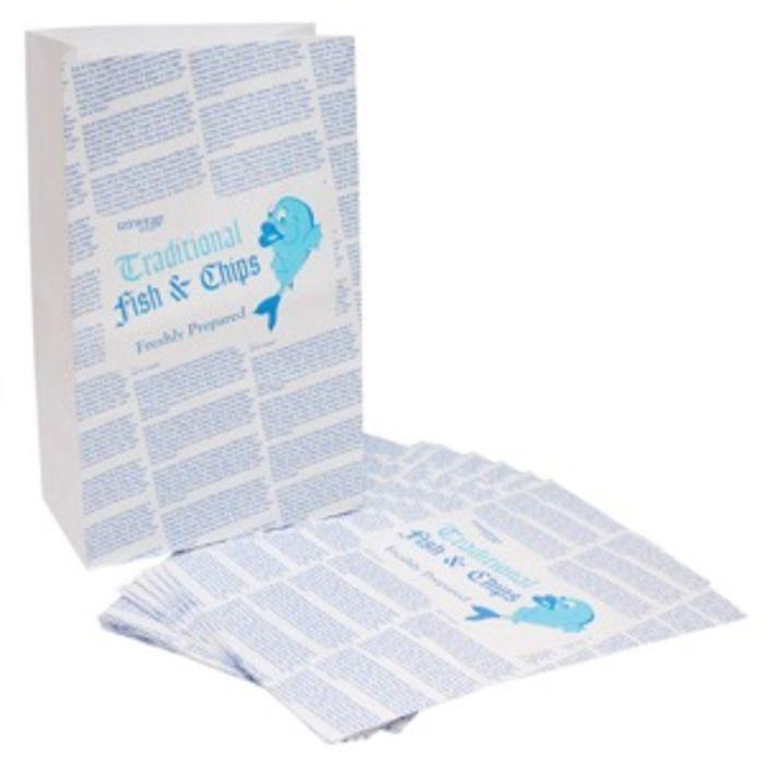 """4Flame Medium Fish & Chips B&W Printed Kraft SOS Bags-(10""""x15""""x16"""")-1x100"""