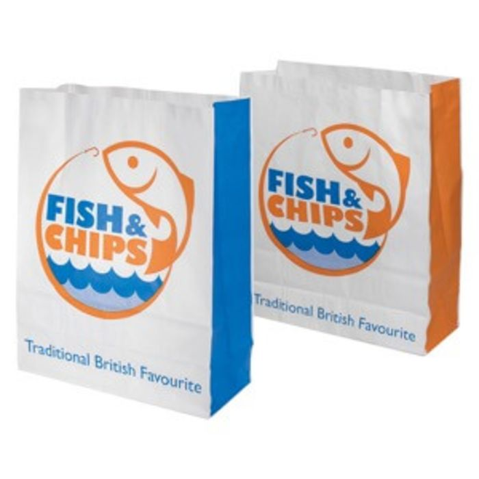 """Fish & Chips Greaseproof Lined SOS2 Bags (7""""x3""""x9"""")-1x250"""