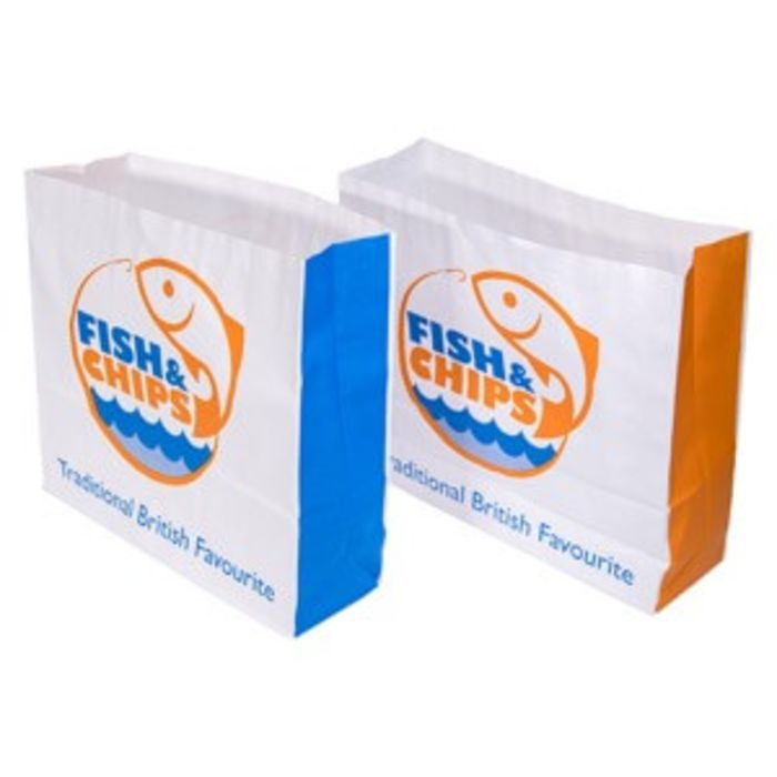 """Fish & Chips Greaseproof Lined SOS3 Bags (10""""x3""""x9"""")-1x250"""