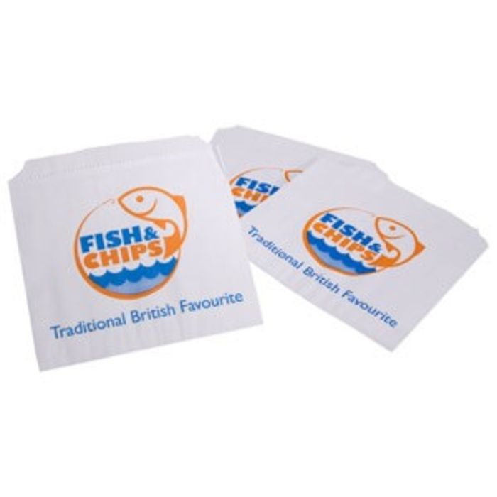 "Fish & Chips Greaseproof Lined SOS5 Bags (6""x6"")-1x1000"
