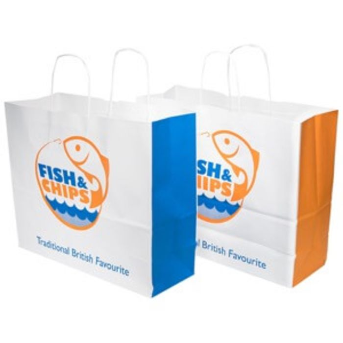 "Fish & Chips Large Paper Carrier Bags (Twisted Paper Handle)(14.5""x6""x12"")-1x125"