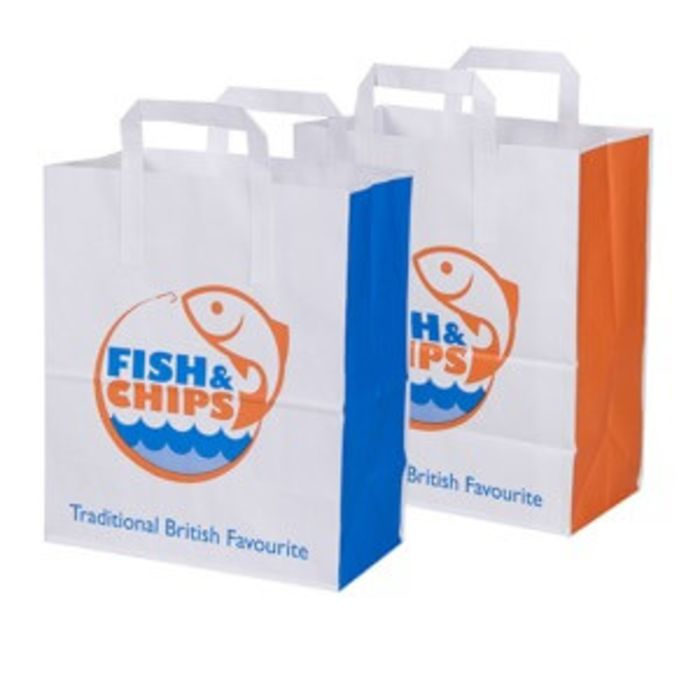 "Fish & Chips Large Paper Carrier Bags (10""x5.5""x12"")-1x125"