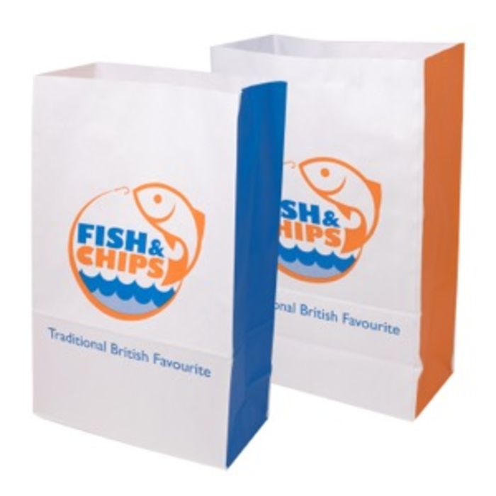 """Fish & Chips Medium Kraft SOS Bags-(10""""x5.5""""x16"""")-1x100"""