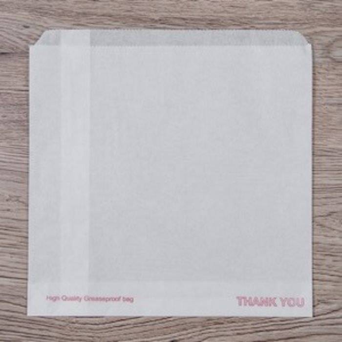 "White Printed Grease Resistant Bags-7""x7""-1x1000"