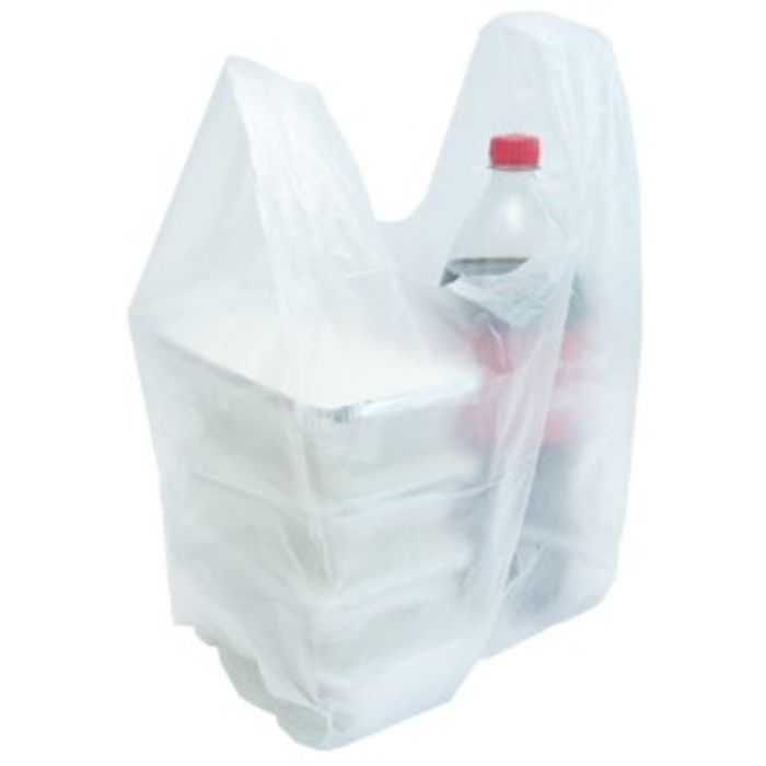 Volvox Small HDPE Vest Clear Plastic Carrier Bags (250x410x455)– 1x2000