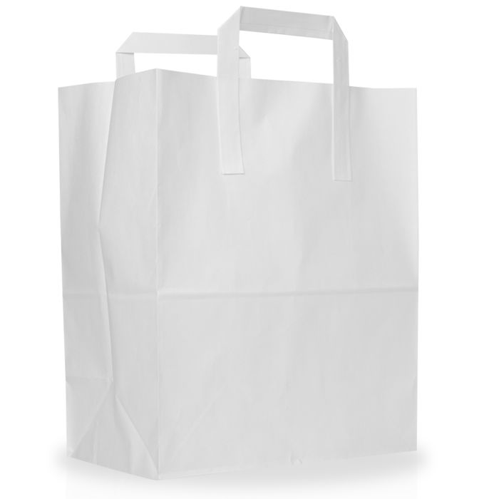 """Large White Paper Carrier Bags (10x15.5x12"""")-1x125"""