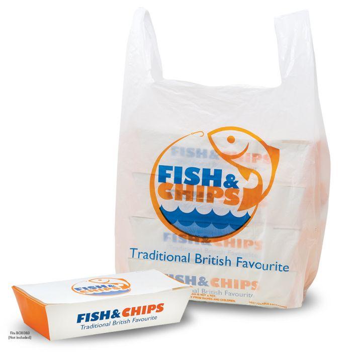 "Fish & Chips Large Vest Carrier Bags(12""x3""x21"")-1x1000"