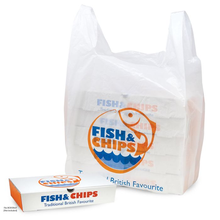 "Fish & Chips Extra Large Vest Carrier Bags (13""x4.5""x23"")-1x1000"